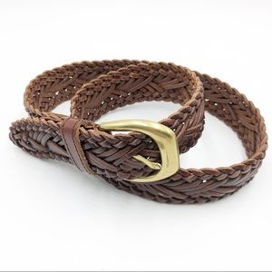 The Limited Wide Leather Braided Belt Medium